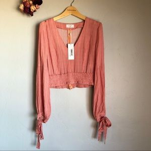 Sage the Label Coral Crop Top size small